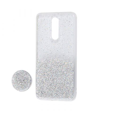 Чехол для Xiaomi Redmi 8 Fashion блестки + popsocket-Silver