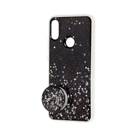 Чехол для Xiaomi Redmi Note 7 блестки + popsocket-Black
