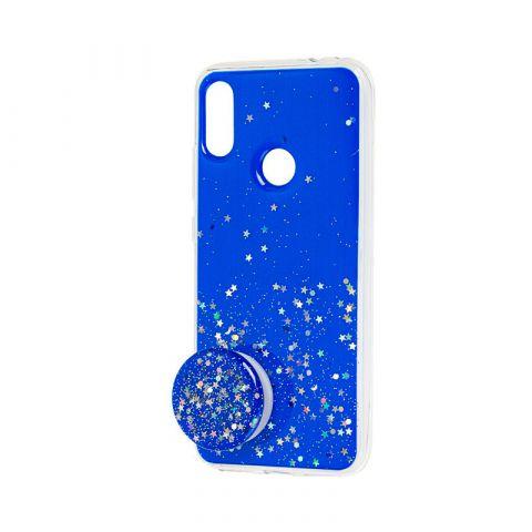 Чехол для Xiaomi Redmi Note 7 блестки + popsocket-Blue