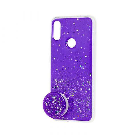 Чехол для Xiaomi Redmi Note 7 блестки + popsocket-Ultra Violet