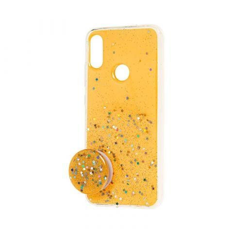 Чехол для Xiaomi Redmi Note 7 блестки + popsocket-Yellow
