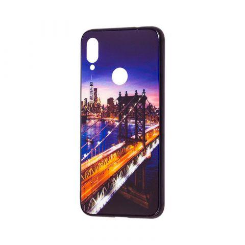 Чехол для Xiaomi Redmi Note 7 Glass New (город)-Dark Blue