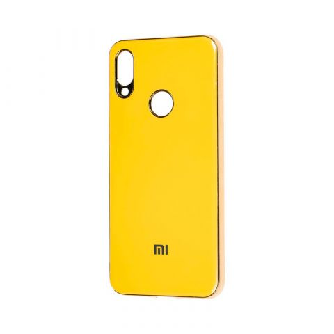Чехол для Xiaomi Redmi Note 7 Glass Silicone Case-Yellow