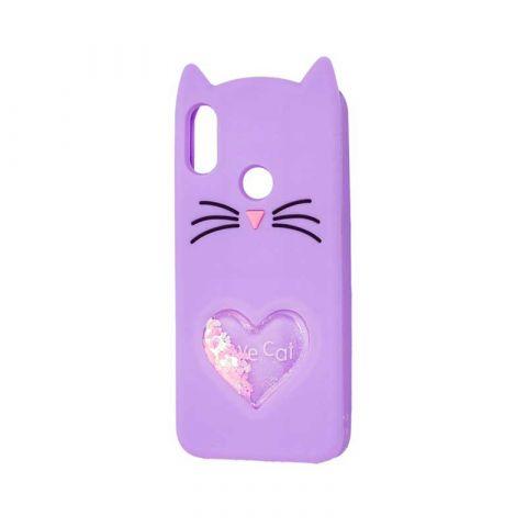 Чехол для Xiaomi Redmi Note 7 Кот с блестками-Purple