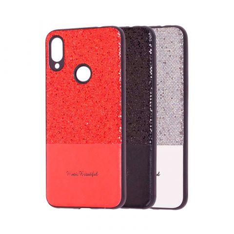 Чехол для Xiaomi Redmi Note 7 Leather с блестками