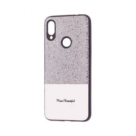 Чехол для Xiaomi Redmi Note 7 Leather с блестками-Silver