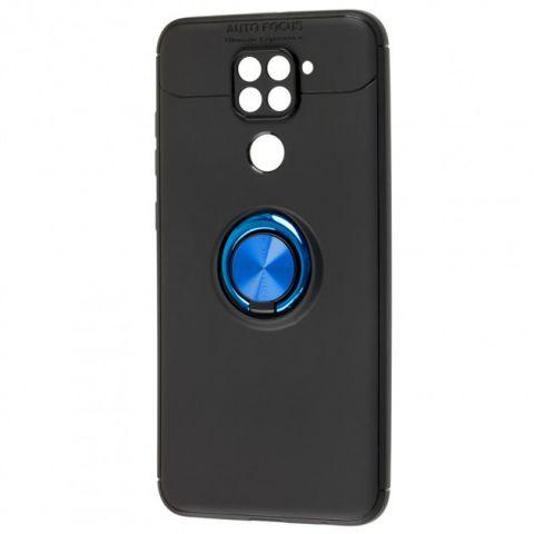 Чехол для Xiaomi Redmi Note 9 Deen ColorRing с кольцом-Black/Blue