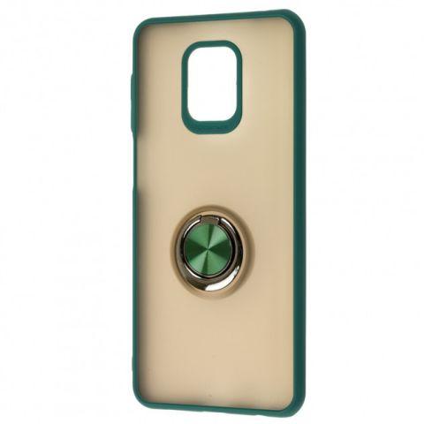 Чехол для Xiaomi Redmi Note 9S / 9 Pro / 9 Pro Max LikGus Maxshield Magnetic Ring-Dark Olive