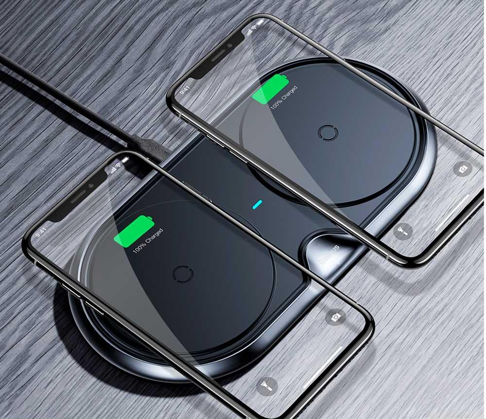 Беспроводная зарядка Baseus Dual Wireless Charger 10W Black фото 4