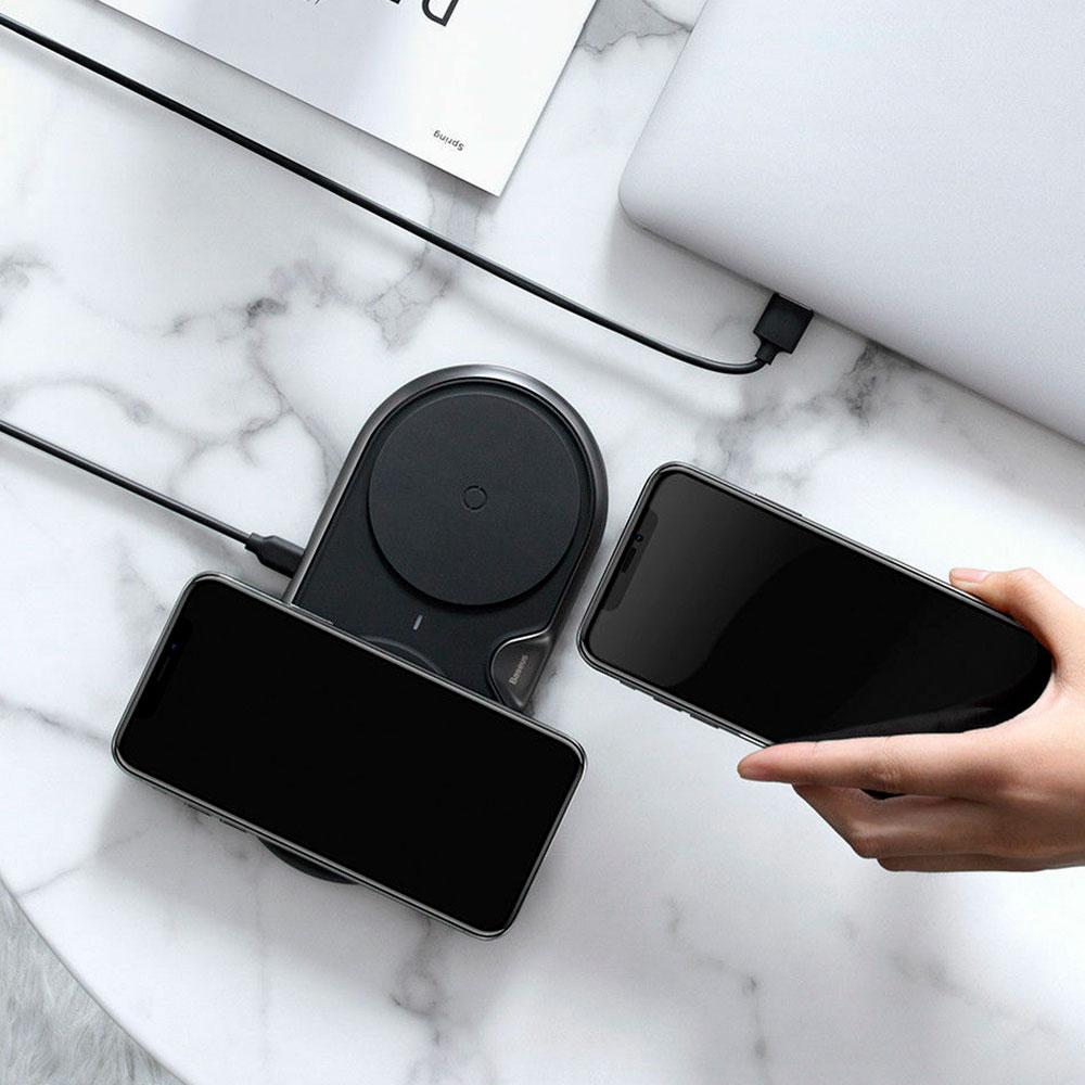 Беспроводная зарядка Baseus Dual Wireless Charger 10W Black фото 3