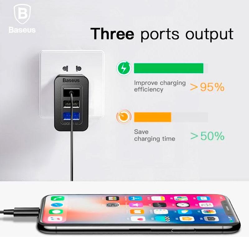 Сетевое зарядное устройство Baseus Duke Universal Travel Charger 3.4A 3USB фото 2