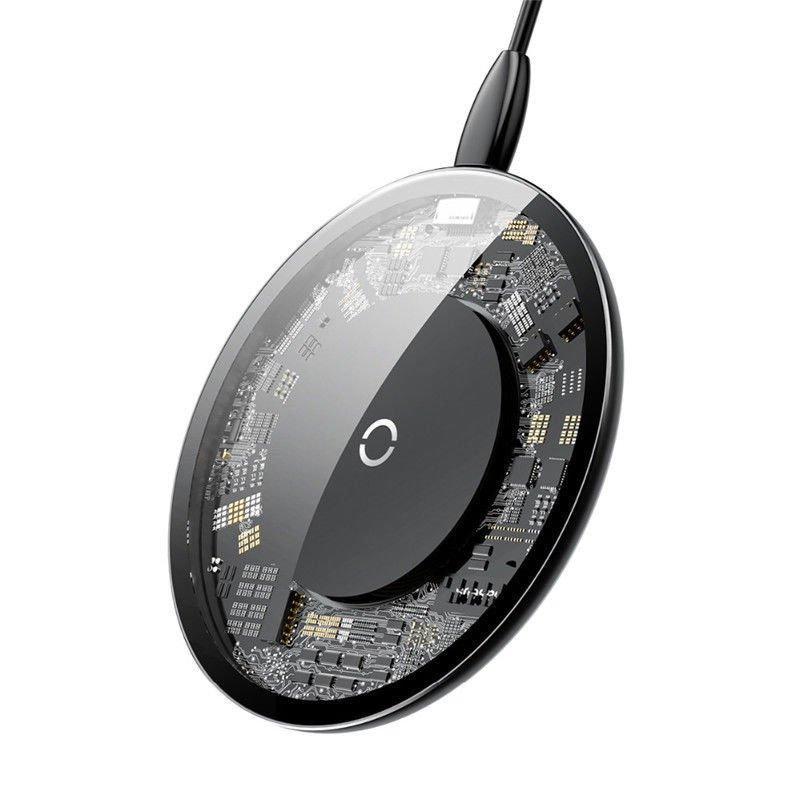 Беспроводная зарядка Baseus Simple Transparent Wireless Charger 10W Black фото 2