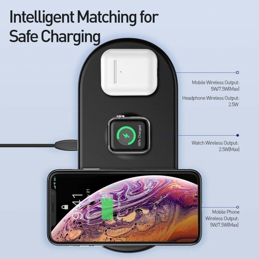 Беспроводная зарядка Baseus Smart 3in1 iPhone+iWatch+AirPods 18W Black фото 1