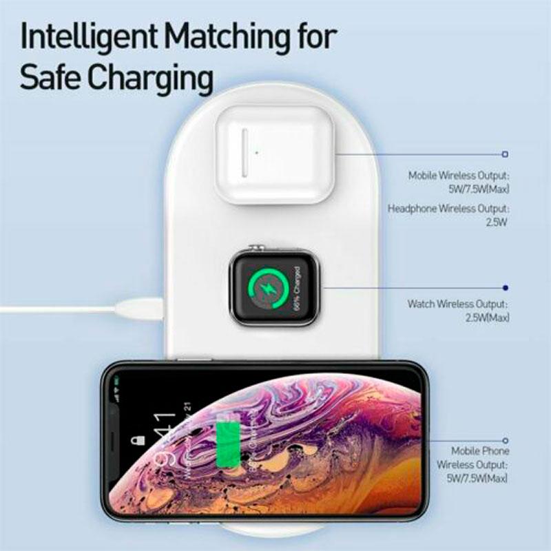 Беспроводная зарядка Baseus Smart 3in1 iPhone+iWatch+AirPods 18W White фото 2